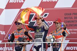 Podium: second place Marc Marquez, Repsol Honda Team and Winner and 2015 World Champion Jorge Lorenz