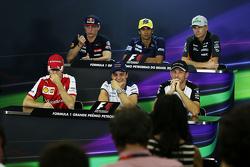 La conferencia de prensa de la FIA: Max Verstappen, Scuderia Toro Rosso; Felipe Nasr, Sauber F1 Team; Nico Hulkenberg, Sahara Force India F1; Sebastian Vettel, Ferrari; Felipe Massa, Williams; Jenson Button, McLaren