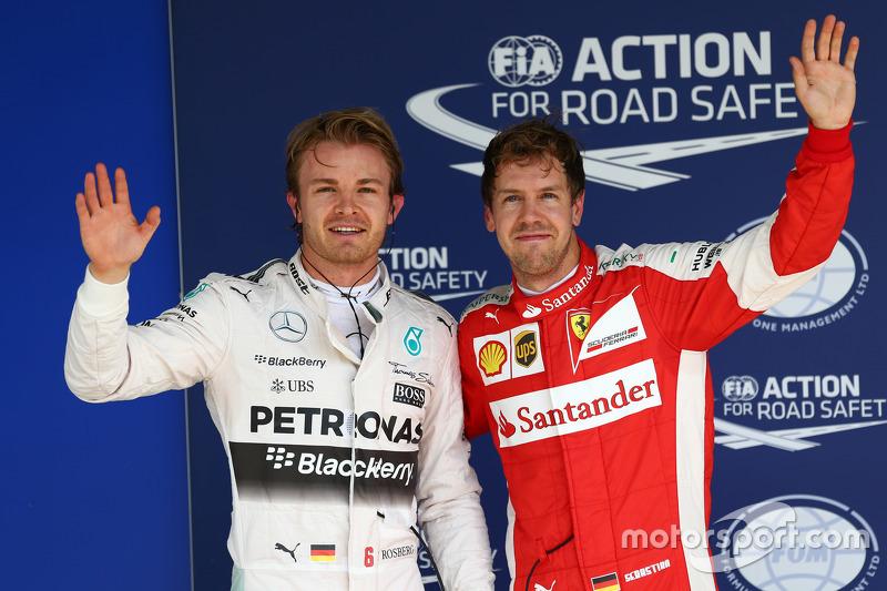 Polesitter Nico Rosberg, Mercedes AMG F1 W06 and third place Sebastian Vettel, Ferrari SF15-T