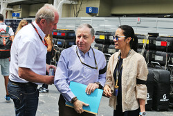 (L to R): Dr Helmut Marko, Red Bull Motorsport Consultant with Jean Todt, FIA President and his wife Michelle Yeoh
