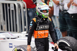 Sergio Perez, Sahara Force India F1 in parc ferme