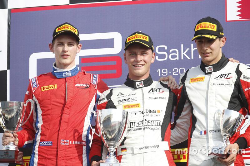 Race 1 Podium: second place Emil Bernstorff, Arden International and winner Marvin Kirchhofer, ART Grand Prix and third place Esteban Ocon, ART Grand Prix