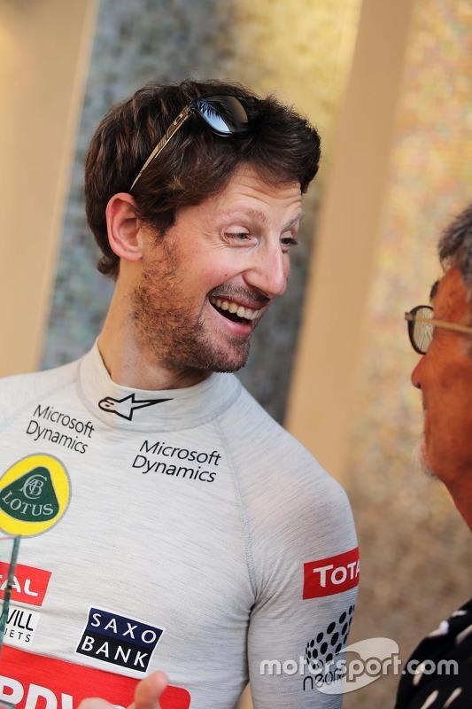 Romain Grosjean, Lotus F1 Team with Eddie Jordan, BBC Television Pundit