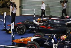 Gara 1 parco chiuso: secondo Raffaele Marciello, Trident, il vincitore Stoffel Vandoorne, ART Grand Prix e il terzo Mitch Evans, RUSSIAN TIME