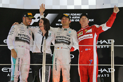 The podium: Race winner Nico Rosberg, Mercedes AMG F1 Team, second place Lewis Hamilton, Mercedes AMG F1 Team, third place Kimi Raikkonen, Ferrari