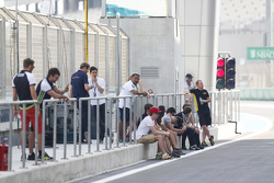 GP3 drivers in the pit lane