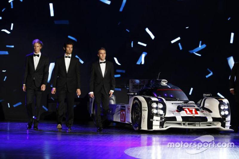 Чемпионы WEC 2015 года - Марк Уэббер, Брендон Хартли, Тимо Бернхард, Porsche Team