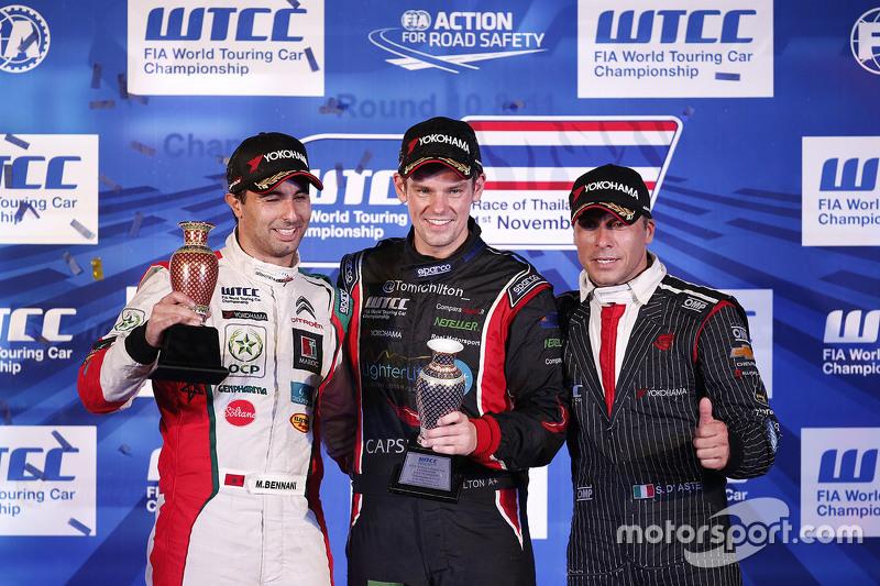 Podium: Mehdi Bennani, Sébastien Loeb Racing, Tom Chilton, ROAL Motorsport and Stefano D'Aste, Münni