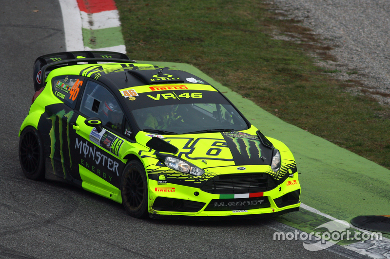 Valentino Rossi and Carlo Cassina, Ford Fiesta at Monza Rally Show