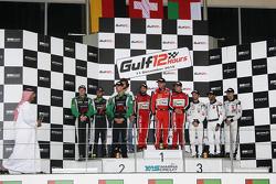 Подіум: переможці #11 Kessel Racing Ferrari 458 Italia: Давіде Рігон, Andrea Piccini, Michael Broniszewski, друге місце #2 Блек Фалкон Mercedes SLS AMG: Йелмер Бурман, Хуберт Хаупт, Абдулазіз аль-Фейсал, третє місце #44 Oman Racing Aston Martin Vantage: Jonny Adam, Даррен Тернер, Ahmad Al Harthy