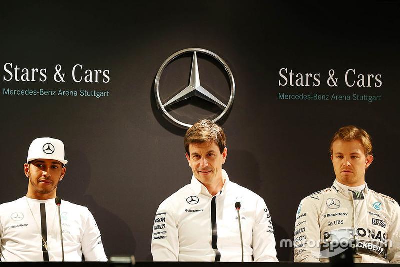 Lewis Hamilton, Nico Rosberg und Toto Wolff, Mercedes-Sportchef