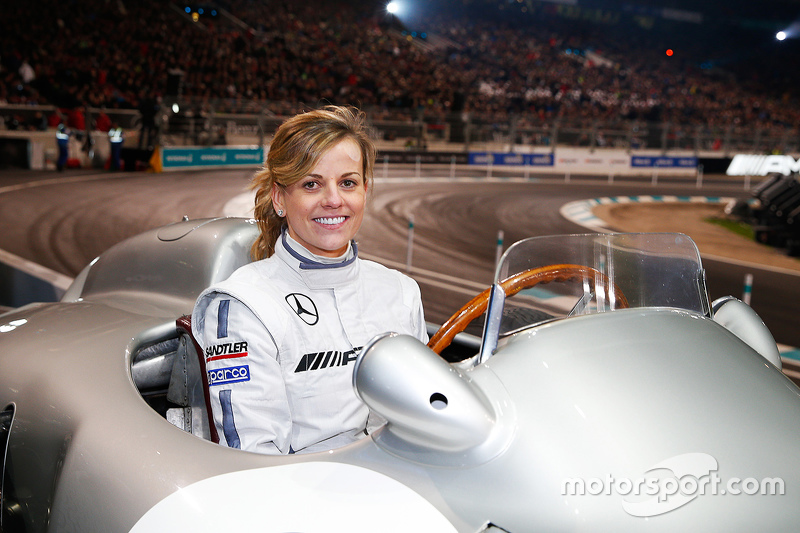 Susie Wolff in a classic Mercedes