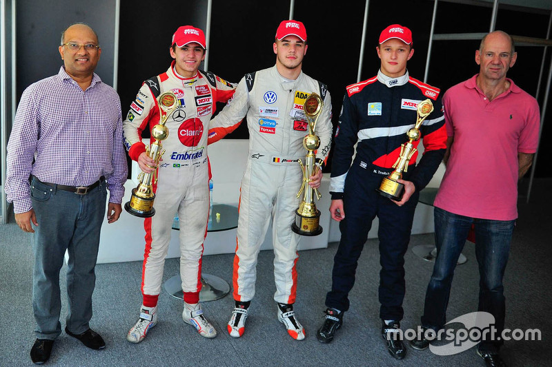 Winner Alessio Picariello, second place Pietro Fittipaldi, third place Nikita Troitskiy and Adrian Newey