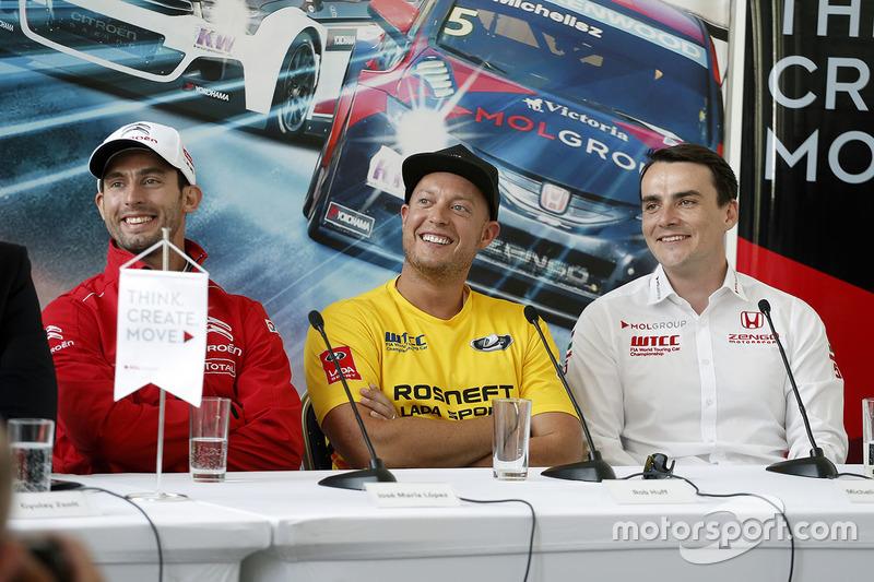 Press conference: Jose Maria Lopez, Citroën C-Elysee WTCC, Citroën World Touring Car team, Rob Huff, Lada Vesta WTCC, Lada Sport Rosneft, Norbert Michelisz, Honda Civic WTCC, Zengo Motorsport