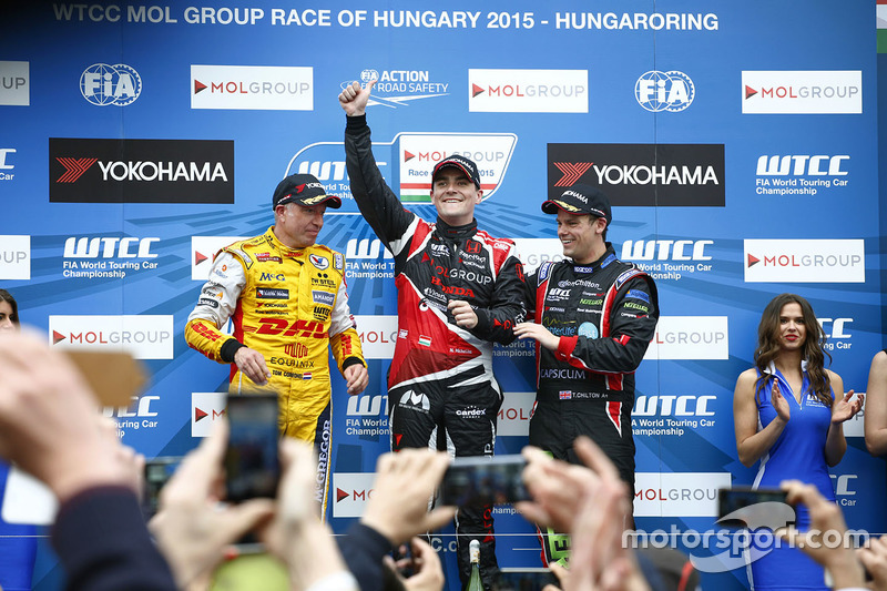 Podium: race winner Norbert Michelisz, Honda Civic WTCC, Zengo Motorsport, second place Tom Coronel,