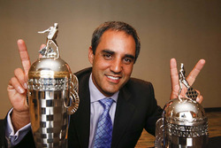 2015 Indy 500 winner Juan Pablo Montoya, Team Penske with baby Borg-Warner trophies