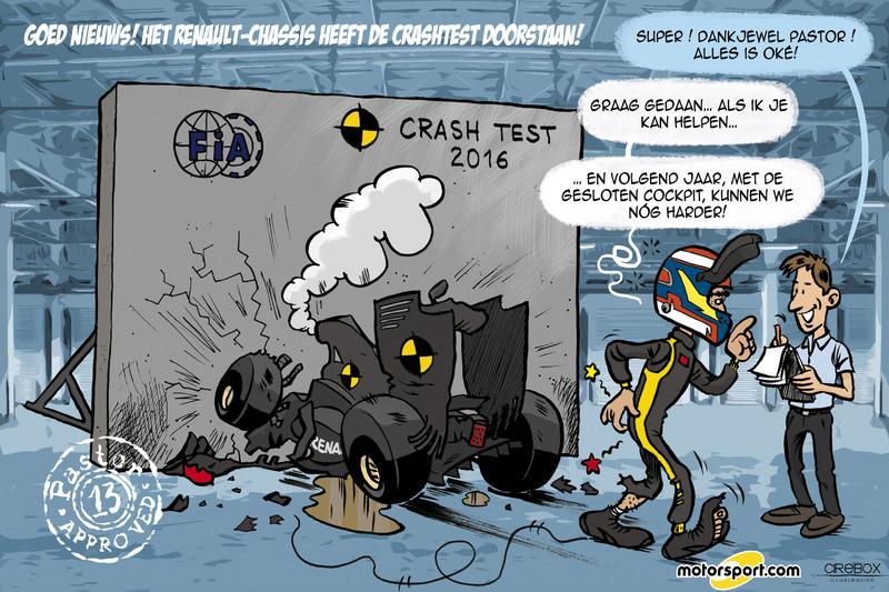 Cartoon van Cirebox - Pastor Maldonado doet Renault-crashtest