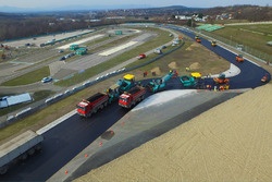 Repaving work on the Hungaroring