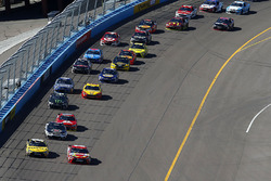 Re start action, Kyle Busch, Joe Gibbs Racing Toyota leads