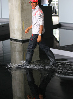 Lewis Hamilton, McLaren Mercedes wearing wellies