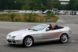 Heikki Kovalainen, McLaren Mercedes and Lewis Hamilton, McLaren Mercedes driving McLaren Mercedes SLR's