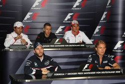 FIA press conference: Timo Glock, Toyota F1 Team, Sebastian Vettel, Scuderia Toro Rosso, Adrian Sutil, Force India F1 Team, Nick Heidfeld, BMW Sauber F1 Team and Nico Rosberg, WilliamsF1 Team