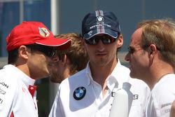 Giancarlo Fisichella, Force India F1 Team, Robert Kubica,  BMW Sauber F1 Team and Rubens Barrichello, Honda Racing F1 Team