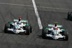 Rubens Barrichello, Honda Racing F1 Team, RA108 and Jenson Button, Honda Racing F1 Team, RA108