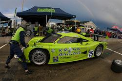 Pit stop for #75 Krohn Racing Pontiac Lola: Tracy Krohn, Eric van de Poele