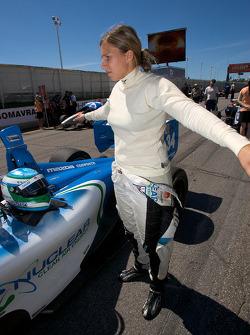 Simona De Silvestro stretches before the race