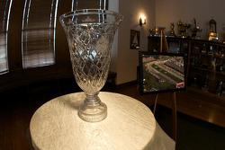 The Detroit Grand Prix winner trophy sits inside the Detroit Yacht Club