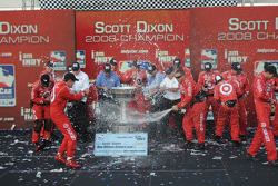 IndyCar Series 2008 champion Scott Dixon celebrates with the entire Target Chip Ganassi Team