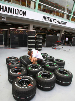 McLaren Mercedes prepare their tyres
