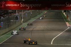 Mark Webber, Red Bull Racing, RB4 leads Jenson Button, Honda Racing F1 Team, RA108