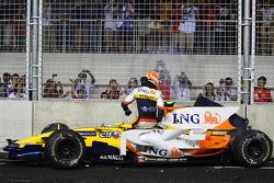 Accident pour Nelson A. Piquet, Renault F1 Team