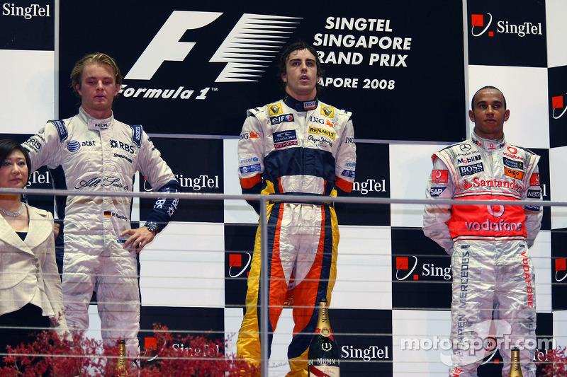 2008 : 1. Fernando Alonso, 2. Nico Rosberg, 3, Lewis Hamilton