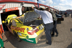 A damaged Subway Toyota after the crash of Tony Stewart