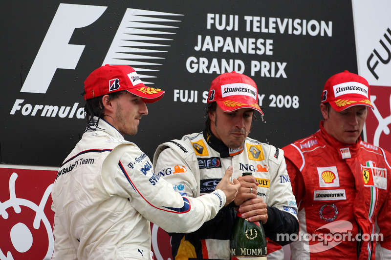 2008 Podium: 1. Fernando Alonso, Renault. 2. Robert Kubica, BMW Sauber. 3. Кimi Raikkonen, Ferrari