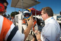 Pole winner Jonathan Summerton celebrates with Newman Wachs Racing team members