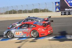 #44 Flying Lizard Motorsports Porsche 911 GT3 RSR: Lonnie Pechnik, Seth Neiman, Darren Law and #87 Farnbacher Loles Porsche 911 GT3 RSR: Dirk Werner, Bryce Miller
