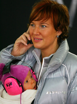 Eva Mücke, wife of former DTM driver Stefan Mücke with their little baby girl