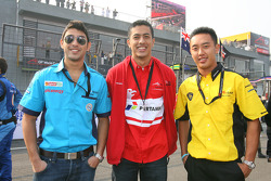 Armaan Ebrahim, driver of A1 Team India with Zahir Ali, driver of A1 Team Indonesia and Aaron Lim, driver of A1 Team Malaysia