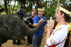 Filipe Albuquerque, driver of A1 Team Portugal at the Gandah Elephant Orphanage