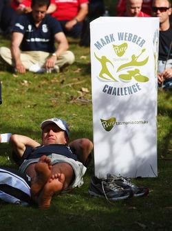 Launceston, Australia: a competitor relaxes