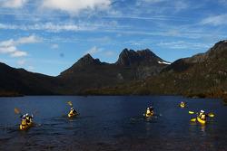 Launceston, Australia: competitors paddle out on to Dove Lake