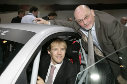 Mattias Ekström and Werner Frowein (Managing Director quattro GmbH) with the Audi R8 LMS