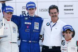 Podium: World Final winner Alexander Rossi, second place Michael Christensen, third place Esteban Gutierrez with Dr. Mario Theissen