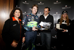 Michèle Mouton and Carl Edwards with his TAG Heur trophy