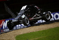 David Coulthard gets two wheels of an RX150 Buggy in the air