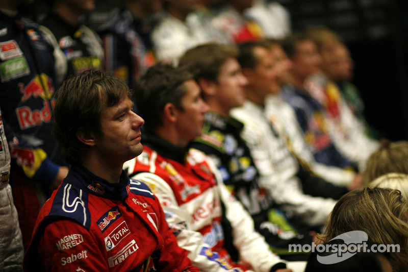 Sébastien Loeb with the other drivers pose for a photo